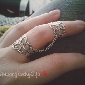 Silver Chain Ring Armor Rings Set